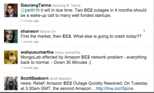 Twittersphere complaints on AWS outage